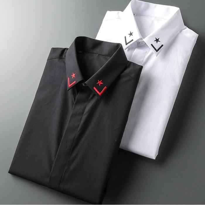 104332 GI 코너 라인자수 히든버튼 셔츠 (2Color)