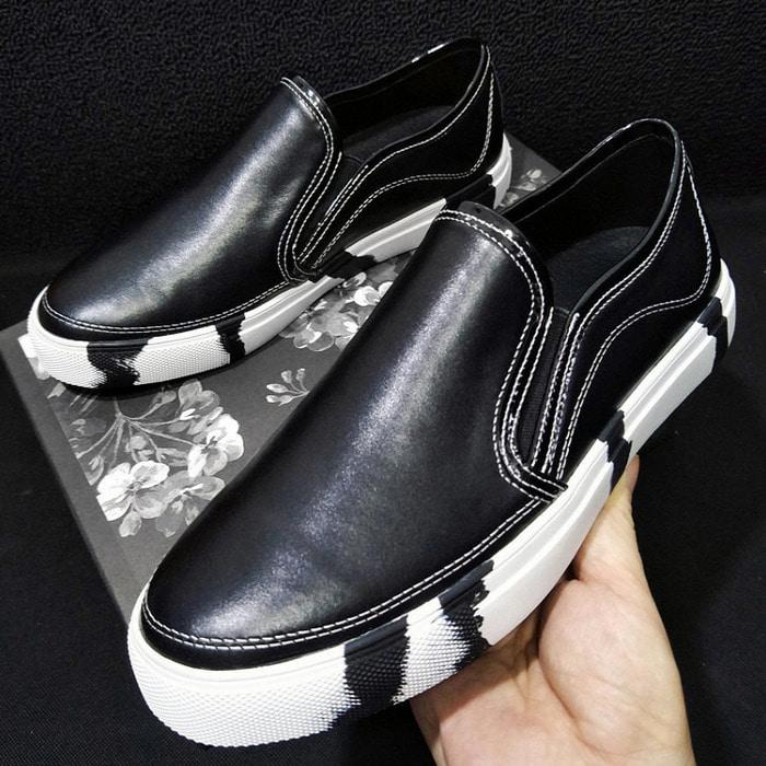 104507 오버솔 페인팅 스티치 레더 슬립온 (Black)