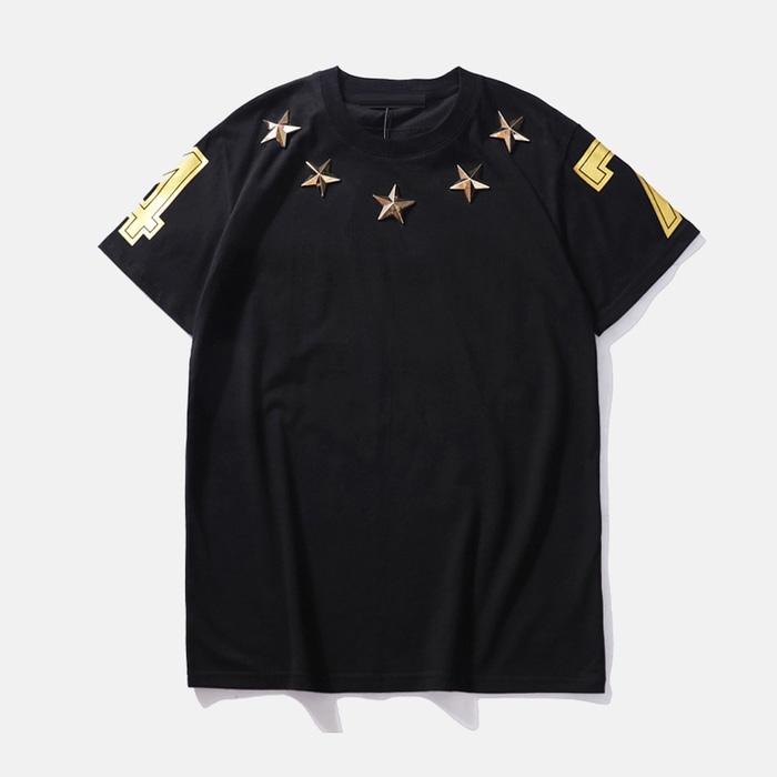 105196 GI 넘버링 별장식 하프 티셔츠 (Black)