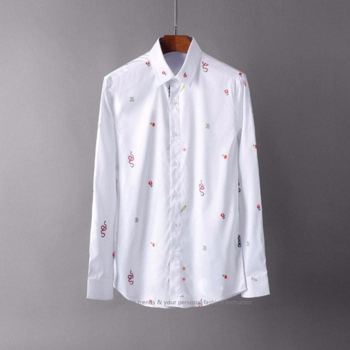 105570 GU 베리어스 스테이크 멀티 프린팅 셔츠 (White)