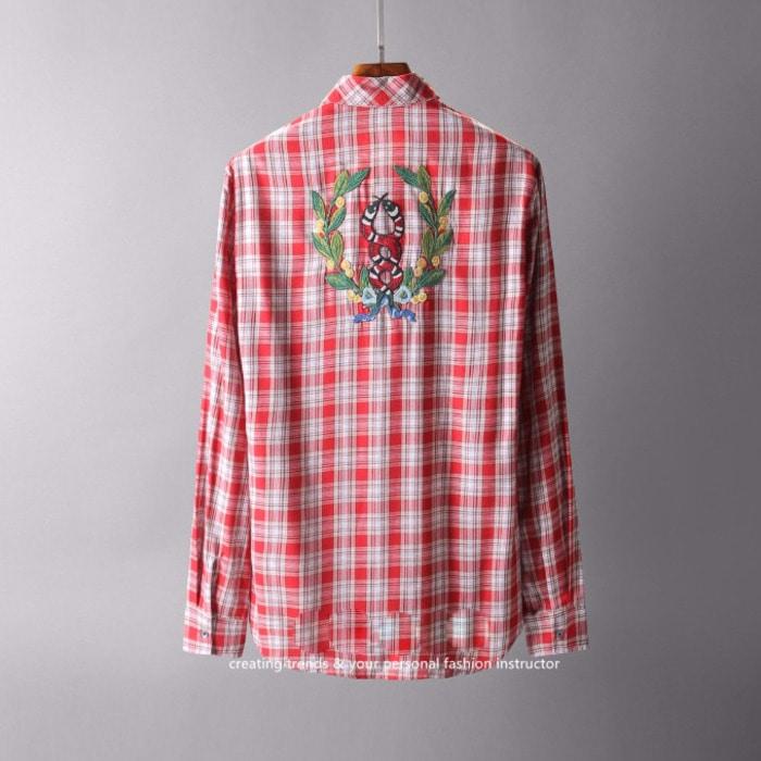 105576 GU 스네이크 코로넷 타탄 체크 셔츠 (Red)
