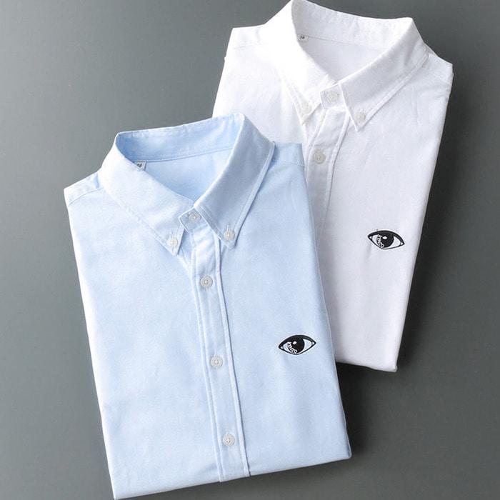 105583 KE 퓨플레터링 엠브로이드 버튼다운 카라 셔츠 (2Color)