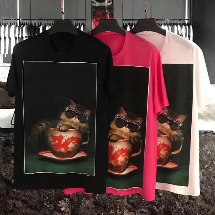 105615 GU 프레임 인사이드 럭셔리캣 포인트 하프 티셔츠 (3Color)