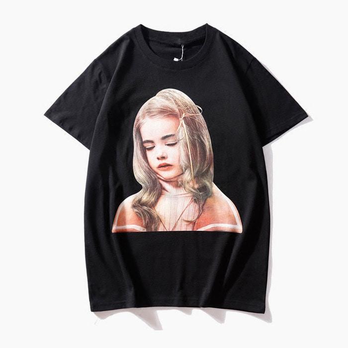 105630 IH 모더스트 러블리걸 전사나염 하프 티셔츠 (Black)