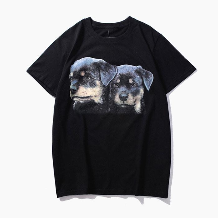 105632 GI 리틀 퍼피스 프린팅 하프 티셔츠 (Black)