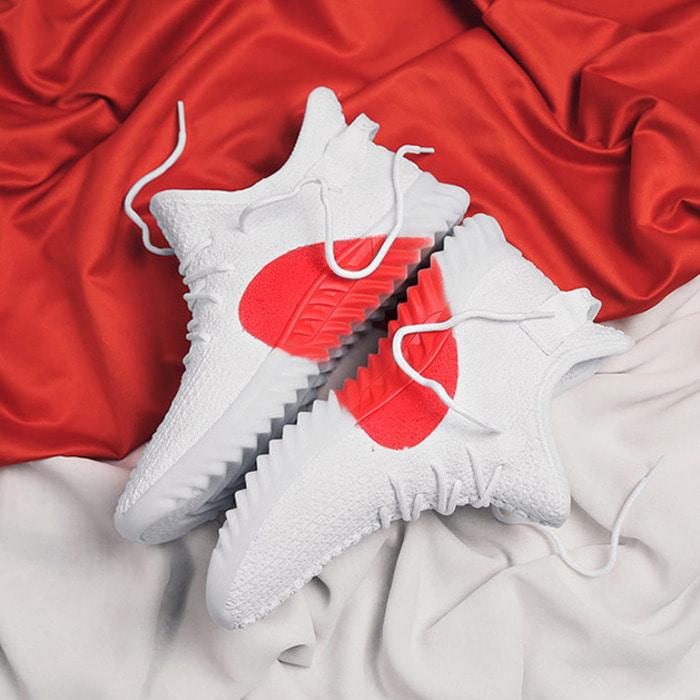 105636 고저스 미드솔 레드포인트 패브릭 스니커즈 (White)