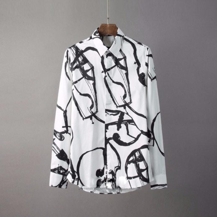 105809 에드워드 유니틱 바이올렛 프린팅 히든버튼 셔츠 (2Color)