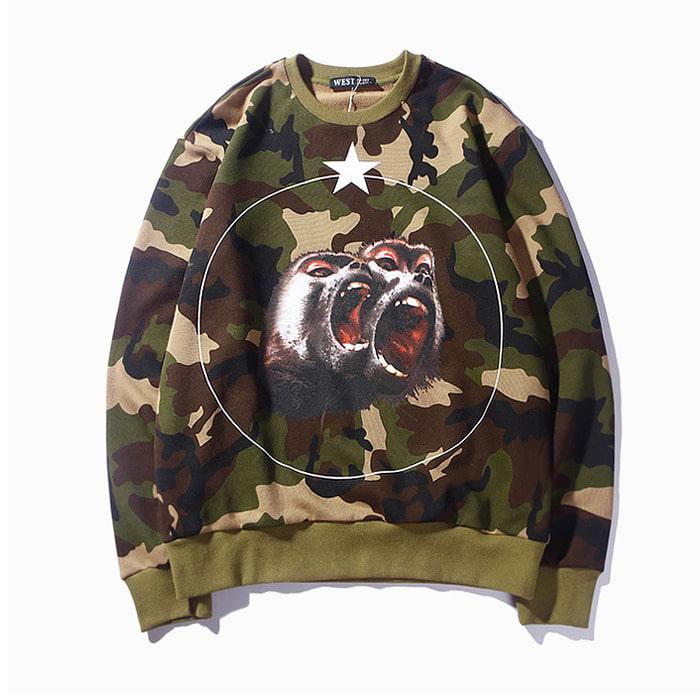 106055 GI 밀리터리 몽키 스크림 시그니처 맨투맨 티셔츠 (Camo)