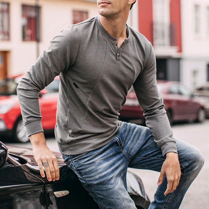 106210 펠릭스 시메트릭라인 헨리넥 티셔츠 (Gray)