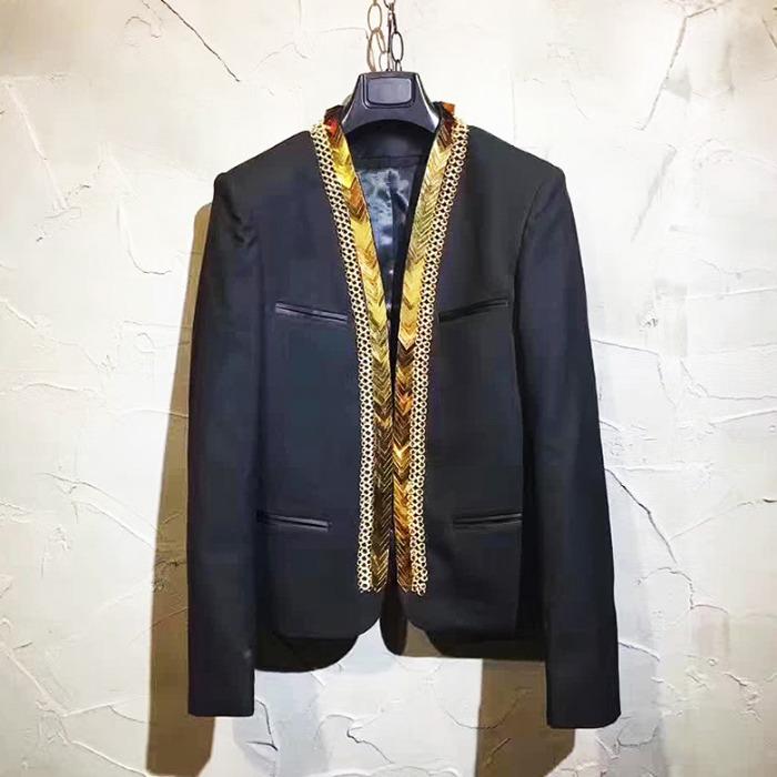 106709 로얄 안데리오라인 골든장식 논카라 자켓 (Black)