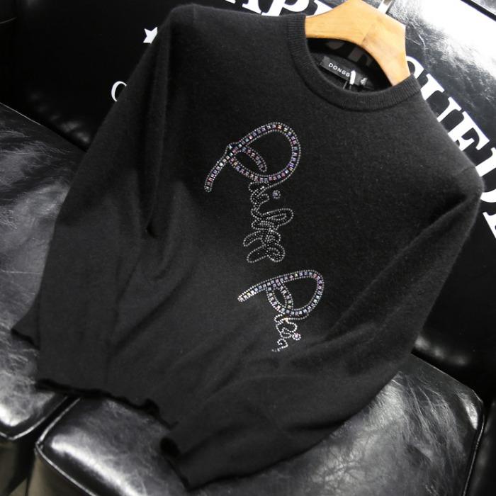 106717 PH 스플렌디드 시그니처 레터링 포인트 니트 (Black)
