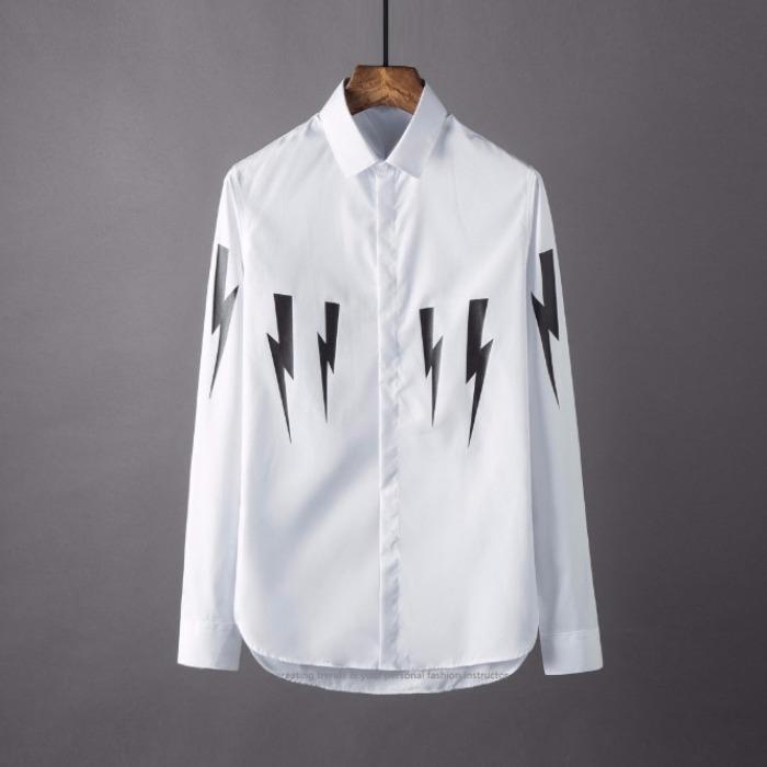 106884 NE 시그니처 썬더라인 히든버튼 셔츠 (White)