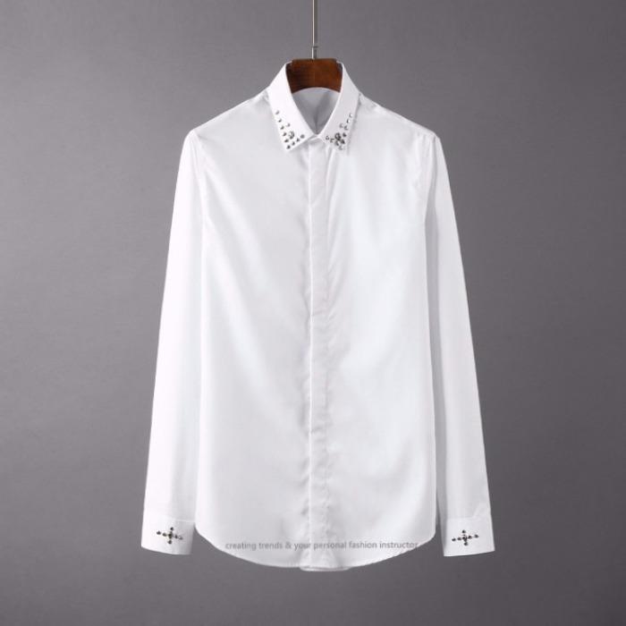 107105 다이아몬드 카라비조 포인트 히든버튼 셔츠 (2Color)