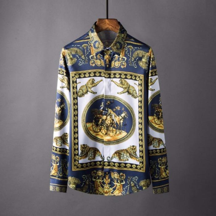 106871 골든라인 로이어 패턴 히든버튼 셔츠 (Navy)