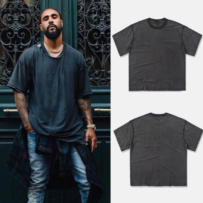 107067 FE 인사이드아웃 포인트 오버 하프 티셔츠 (Dark Gray)