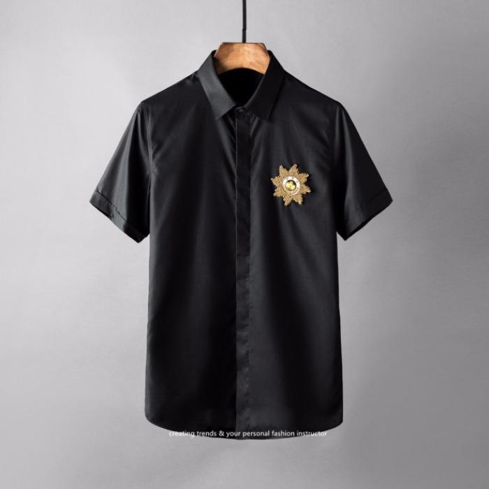 106892 유니크 네이처라인 엠블럼 히든버튼 하프 셔츠 (4Color)