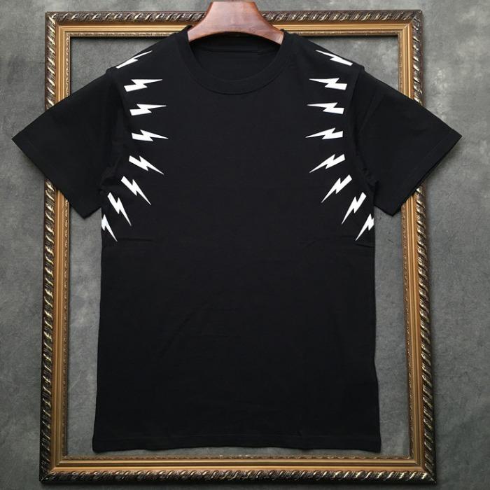 106962 NE 암라인 썬더패턴 포인트 하프 티셔츠 (2Color)