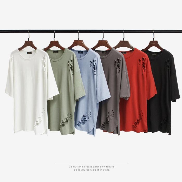 107062 고저스라인 데미지 포인트 오버핏 하프 티셔츠 (6Color)