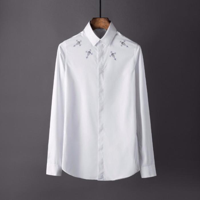 106859 PH 시메트릭 비조라인 스컬크로스 히든버튼 셔츠 (2Color)