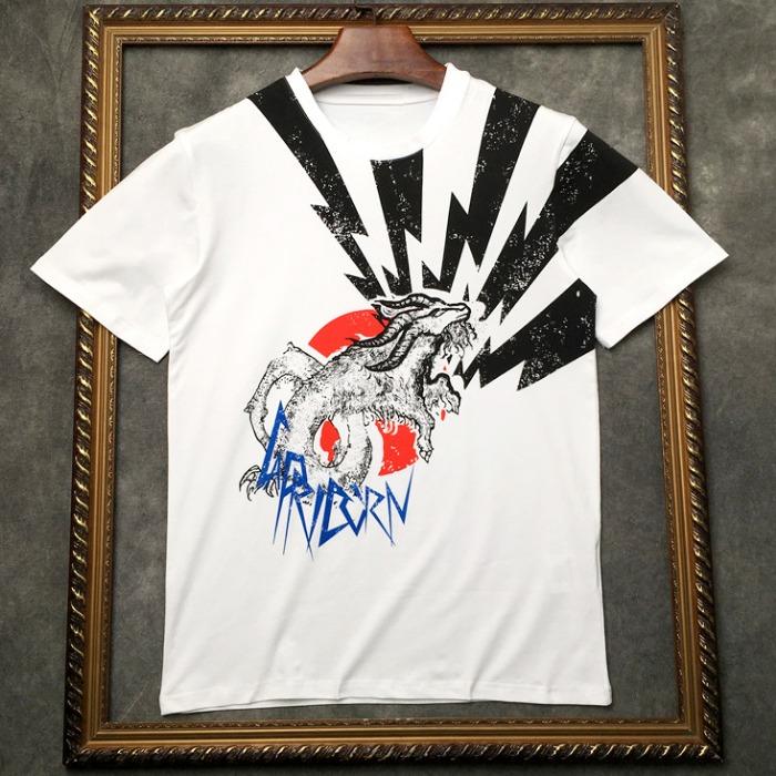 106949 GI 고저스라인 크라잉울프 하프 티셔츠 (White)