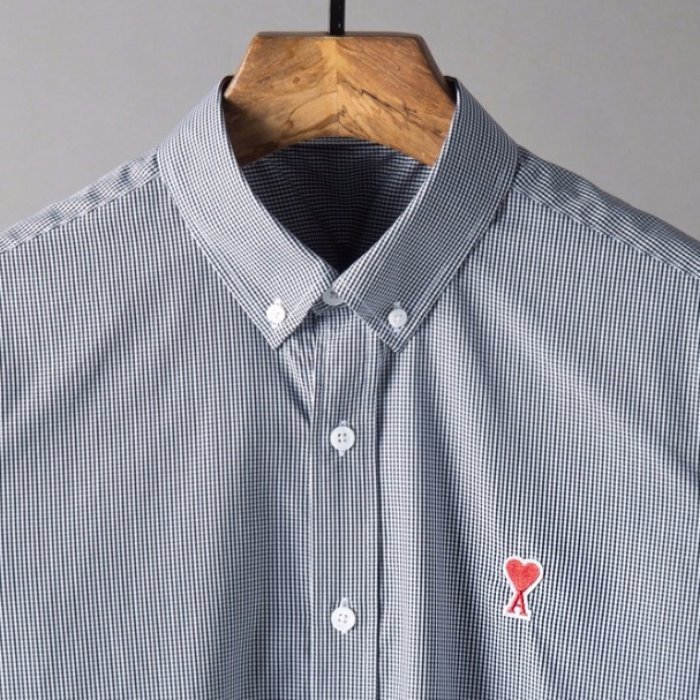 106850 CO 깅엄체크 체스트로고 다운버튼 셔츠 (Navy)