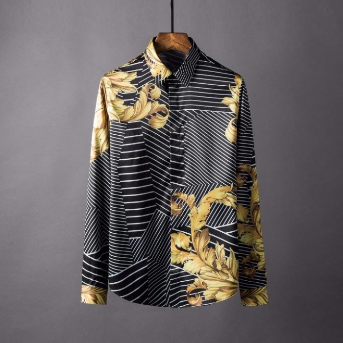 106870 VA 로얄 지오메트릭 라인패턴 히든버튼 셔츠 (Black)