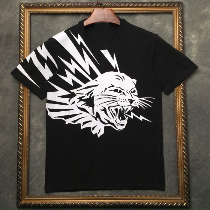 106961 GI 크라잉라인 썬더프린팅 하프 티셔츠 (Black / 2XL(105))