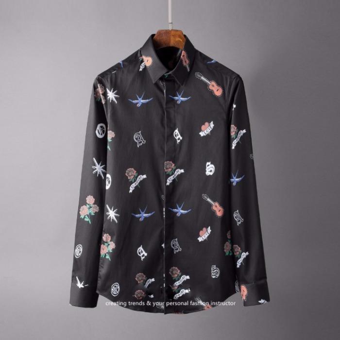 107128 베리어스라인 프린팅 히든버튼 셔츠 (Black)