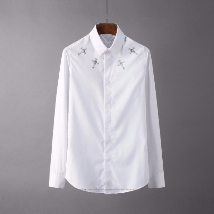 107109 네크라운드 디프런트 프린팅 히든버튼 셔츠 (2Color)