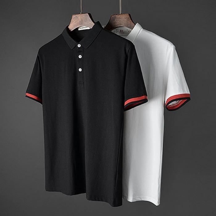 107410 에드워드 트랙포인트 카라 하프 티셔츠 (2Color)