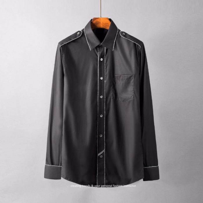 107111 시메트릭라인 스티치 견장포인트 셔츠 (Black)