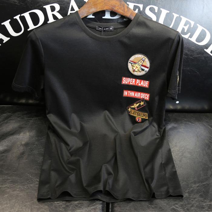107347 베리어스라인 엠브로이드 하프 티셔츠 (2Color)