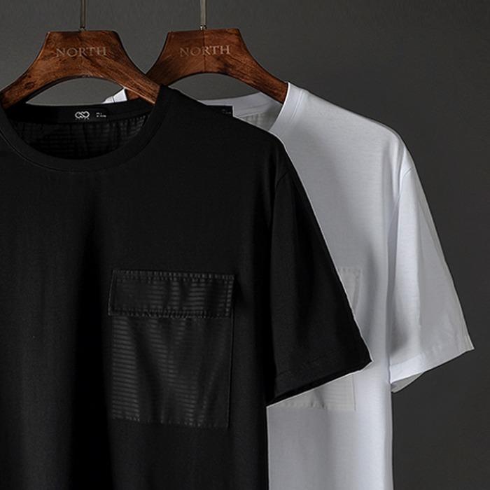 107398 고저스 체스트 포켓포인트 하프 티셔츠 (2Color)