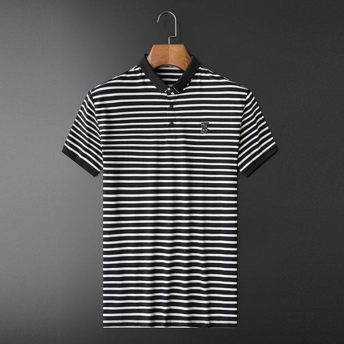 107539 스플렌디드 스트라이프 카라 하프 티셔츠 (Black)