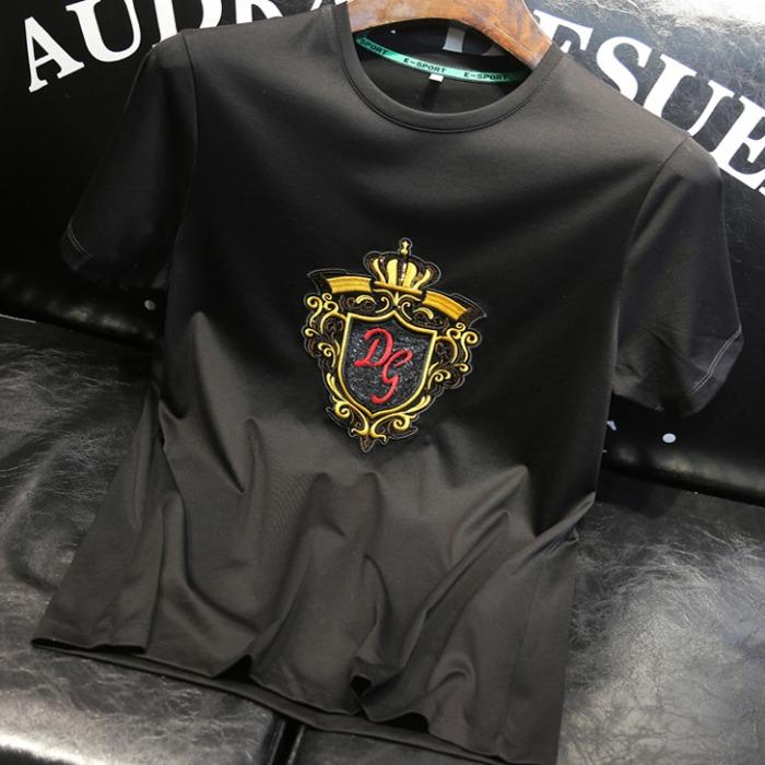 107492 DO 크라운라인 엠브로이드 하프 티셔츠 (Black)