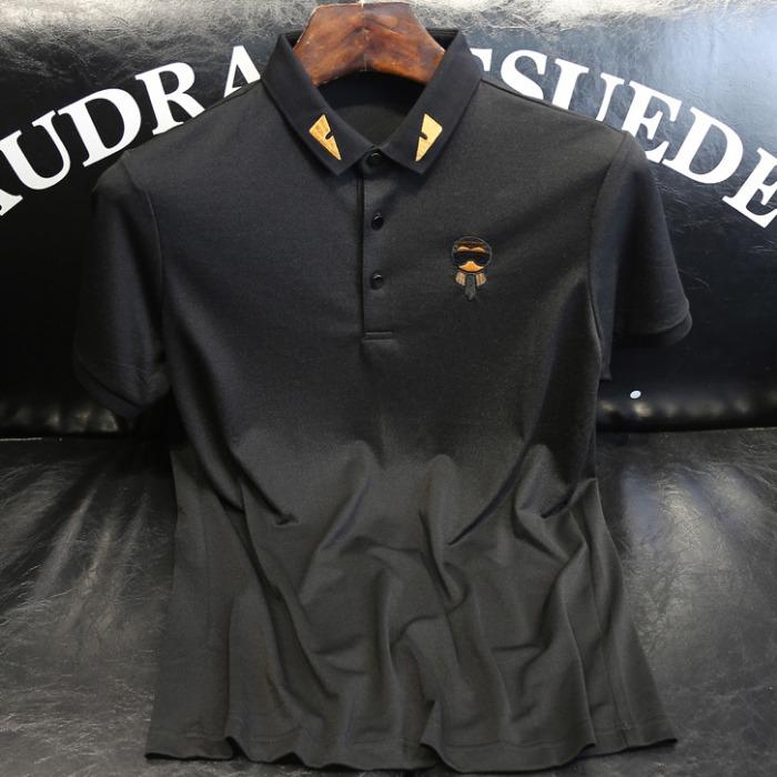 107591 FE 시그니처 엠브로이드 카라 하프 티셔츠 (Black)