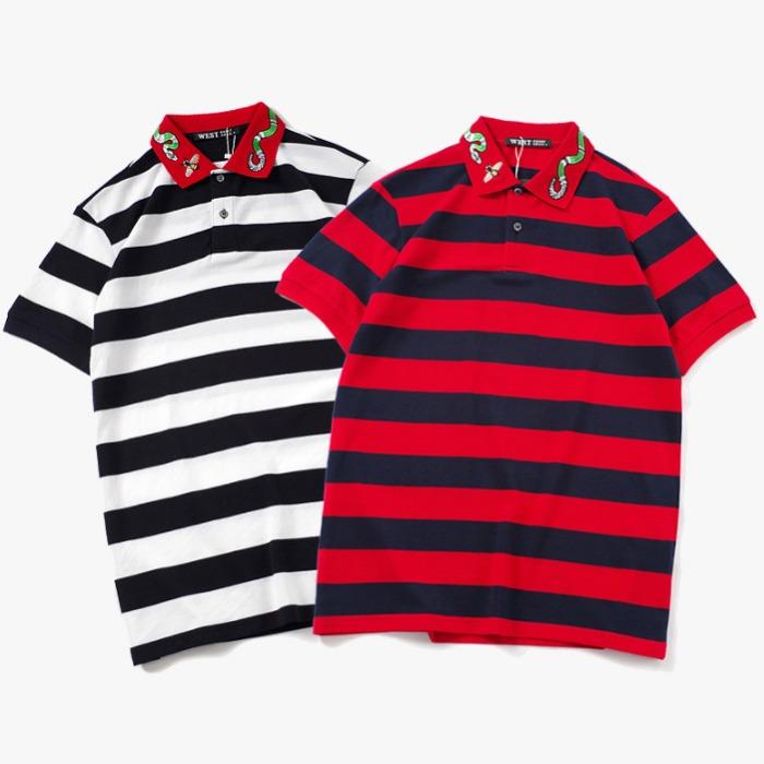 107707 GU 시그니처 스트라이프 카라 하프 티셔츠 (2Color)
