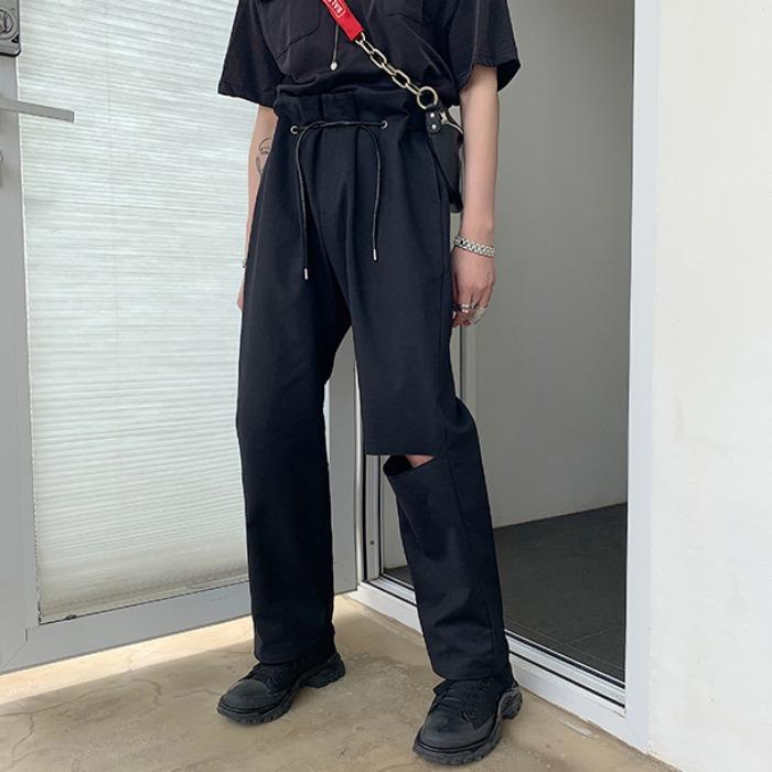 107730 유니크 로프밴딩 컷팅포인트 와이드 슬랙스 (Black)