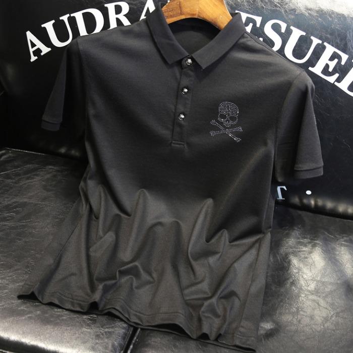 107601 PH 비조라인 데스스컬 카라 하프 티셔츠 (Black)