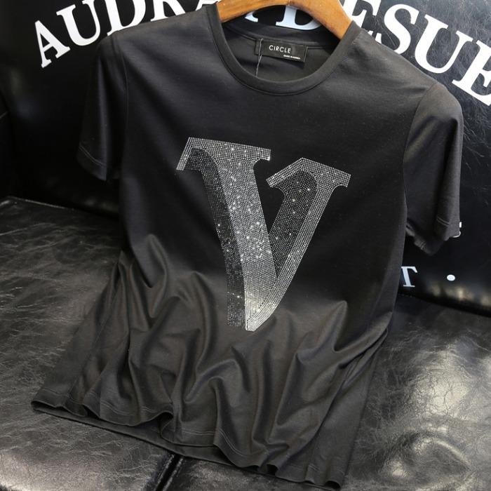 107483 VL 시그니처 샤이닝로고 포인트 하프 티셔츠 (2Color)