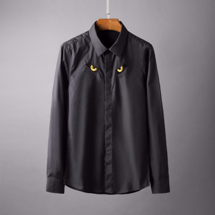 107778 시그니처 몬스터아이 포인트 히든버튼 셔츠 (2Color)