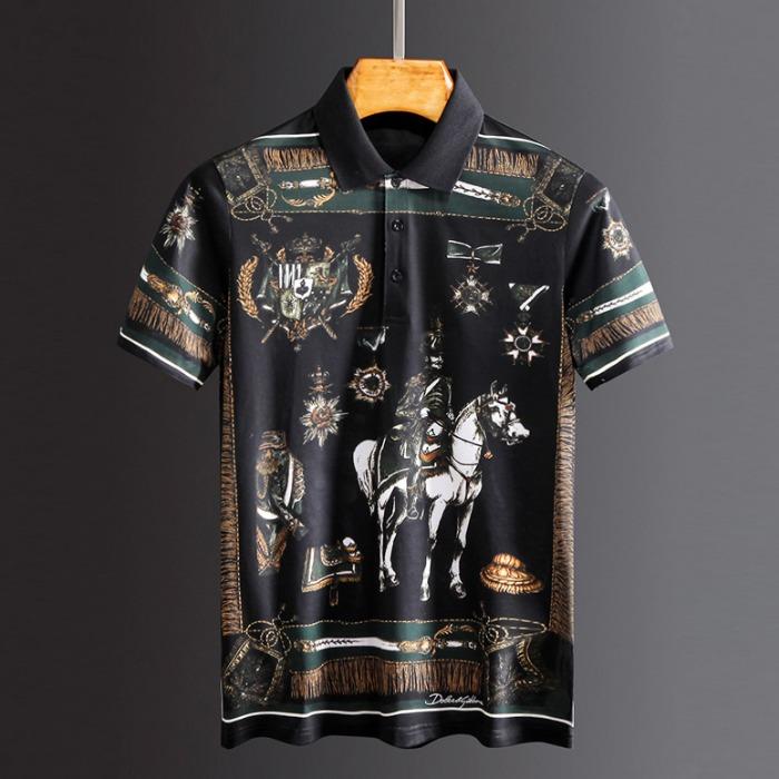 107807 엔티크 나이츠 프레임 포인트 카라 하프 티셔츠 (Black)