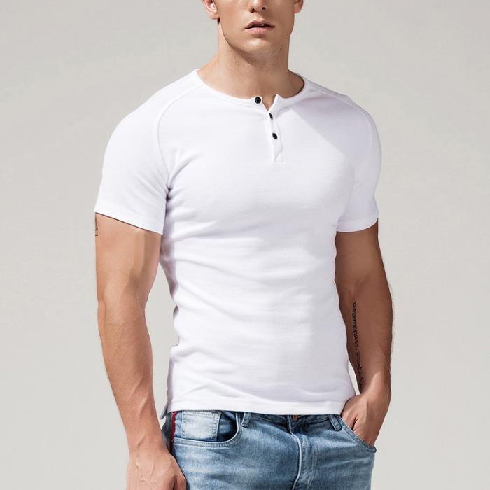 107844 베이직 데일리라인 버튼포인트 하프 티셔츠 (4Color)