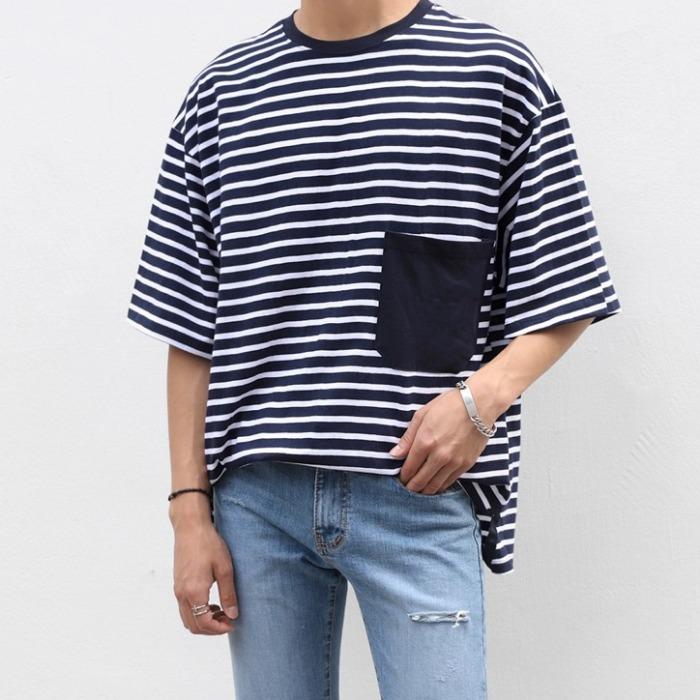 107851 스플렌디드 스트라이프 오버핏 하프 티셔츠 (2Color)