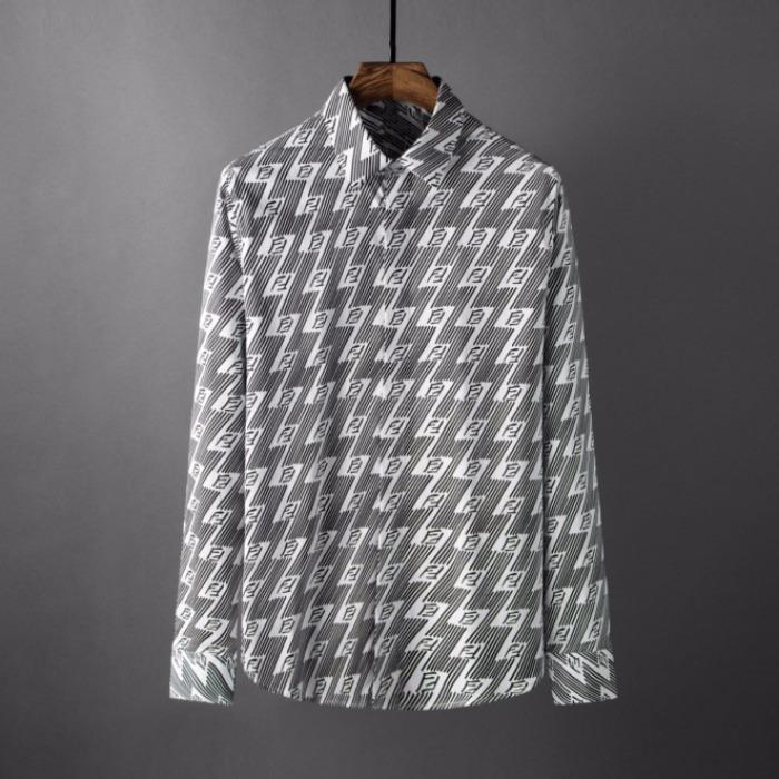 107792 시그니처 로고썬더 레인포인트 히든버튼 셔츠 (Gray)