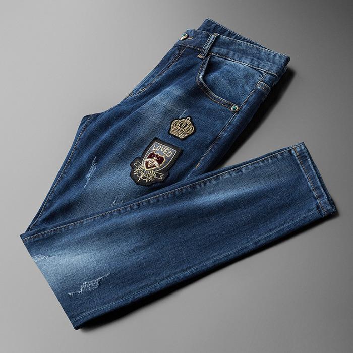 107795 스플렌디드 크라운 엠브로이드 데님 팬츠 (Blue)