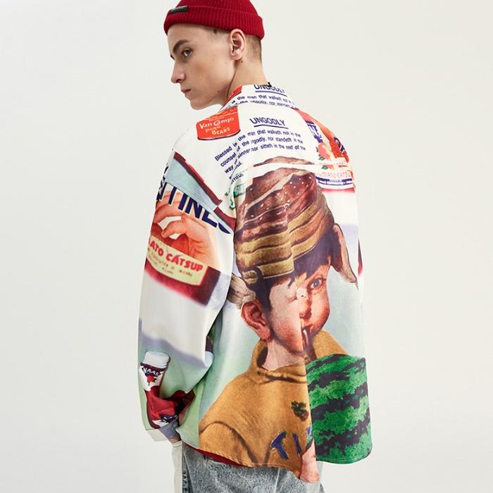 107898 베리어스 워터멜론 차일드 프린팅 헤비오버 셔츠 (Multi)