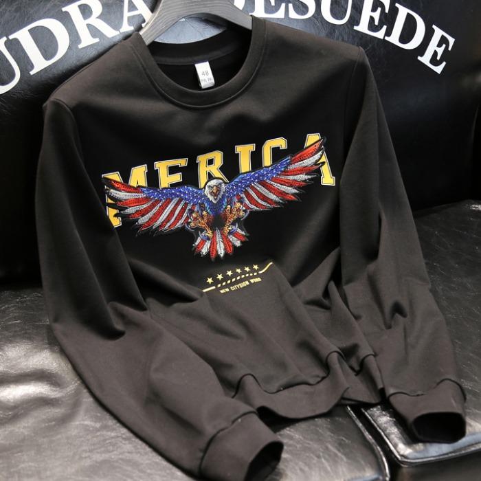 108133 아메리카 이글엠브로이드 포인트 맨투맨 티셔츠 (Black)