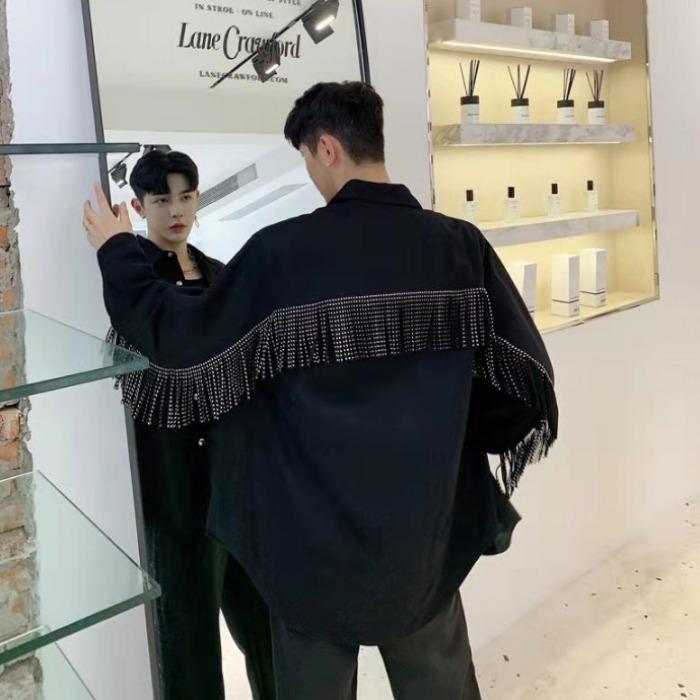 107999 고저스라인 체인레인 포인트 헤비오버핏 셔츠 (Black)