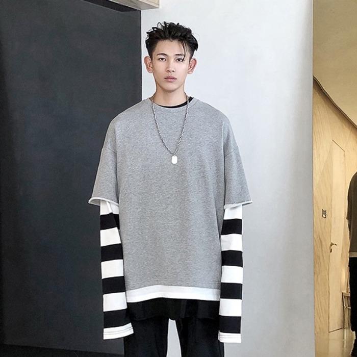 108069 고저스 레이어드라인 루즈핏 헤비오버 티셔츠 (Gray)